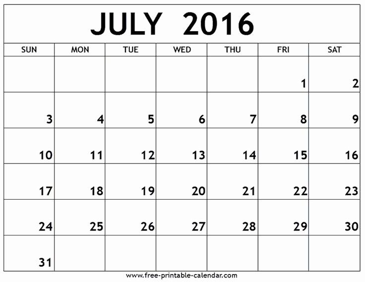 Printable 6 Month Calendar 2016 Best Of July 2016 Printable Calendar Summertime