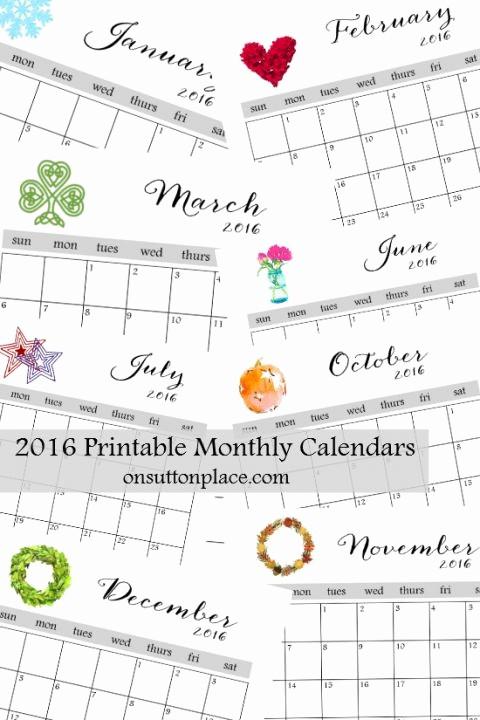 Printable 6 Month Calendar 2016 Elegant Best 25 Monthly Calendars Ideas On Pinterest