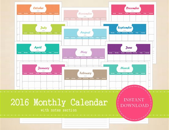 Printable 6 Month Calendar 2016 Elegant Items Similar to Printable 2016 Monthly Calendar with