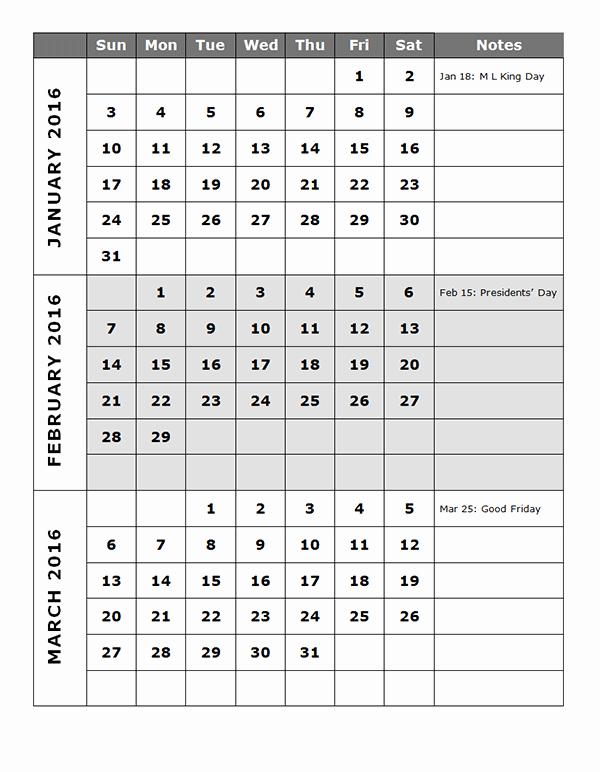 Printable 6 Month Calendar 2016 Fresh 2016 Quarterly Calendar Template 14p Free Printable