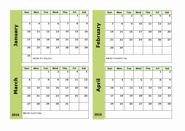 Printable 6 Month Calendar 2016 Inspirational 2016 Four Monthly Calendar Template Free Printable Templates