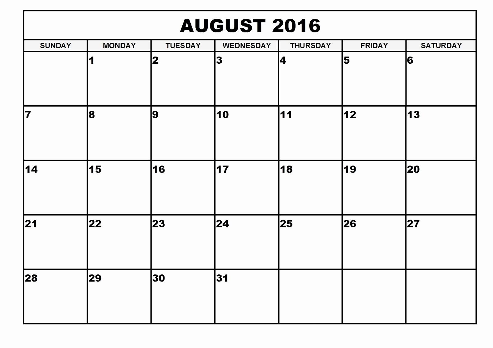 Printable 6 Month Calendar 2016 Inspirational 2016 Monthly Blank Calendar August 2016 Printable