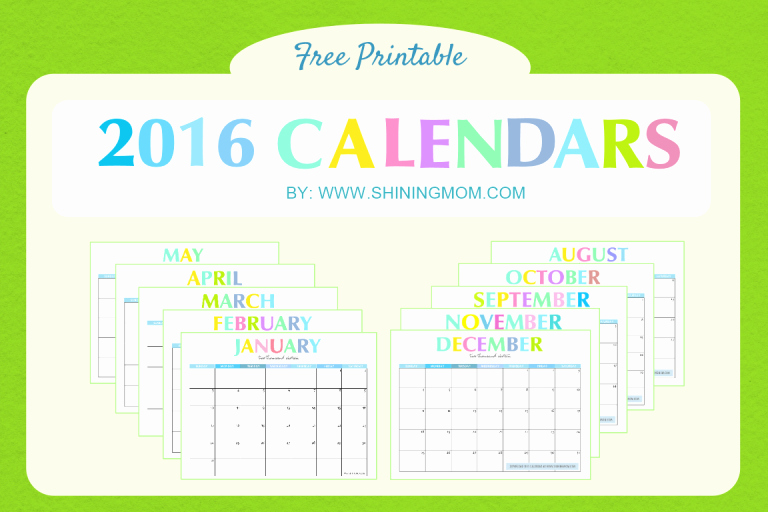 Printable 6 Month Calendar 2016 Unique 2016 Free Printable Calendars
