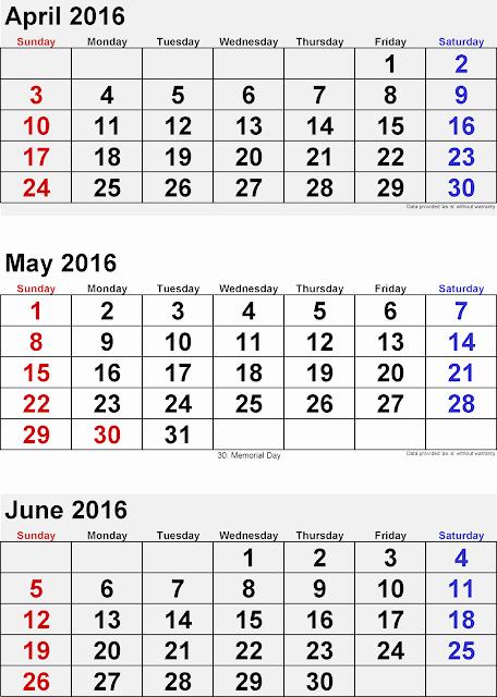 Printable 6 Month Calendar 2016 Unique Get Printable Calendar April May June 3 Months Printable