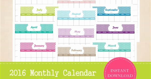 Printable 6 Month Calendar 2016 Unique Printable 2016 Monthly Calendar with Notes Section