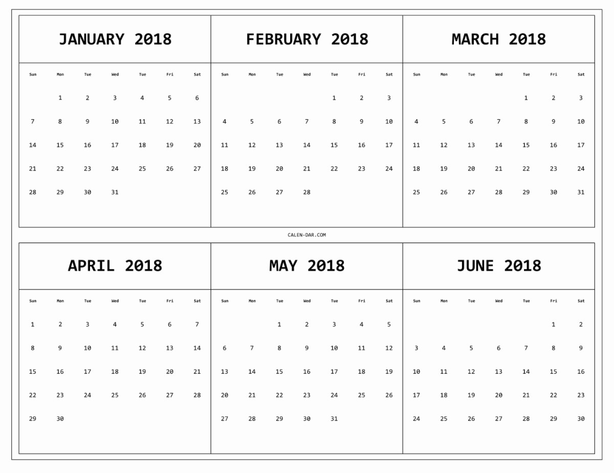 Printable 6 Month Calendar 2018 Beautiful 6 Month E Page Calendar 2018