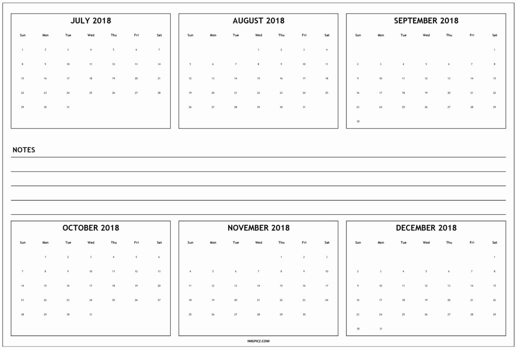 Printable 6 Month Calendar 2018 Best Of August 2018 to December 2018 Calander