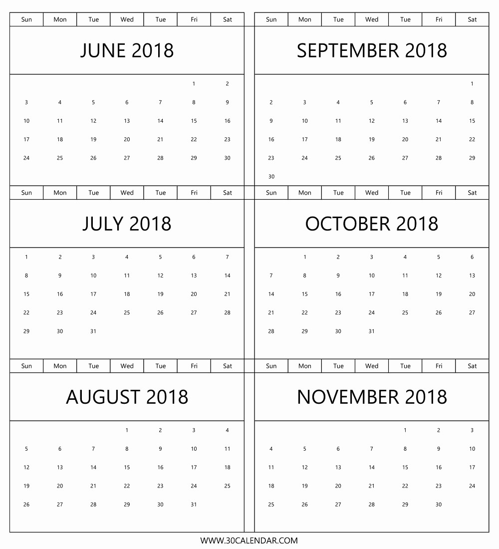 Printable 6 Month Calendar 2018 Elegant 2018 Calendar June November