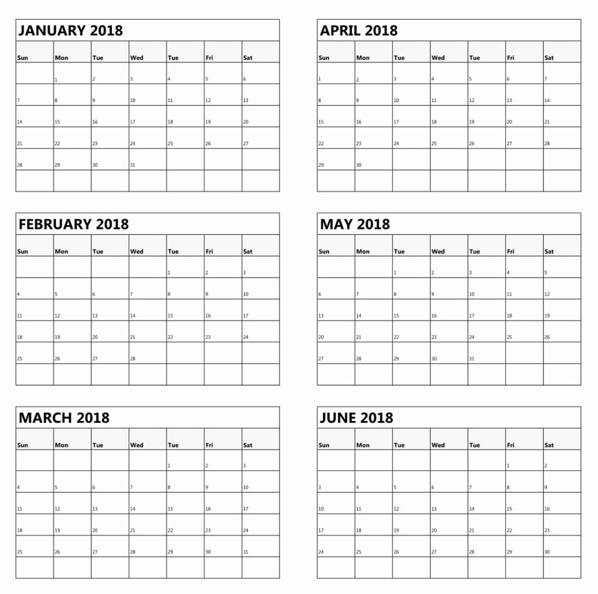 Printable 6 Month Calendar 2018 Elegant 6 Month E Page Calendar 2018