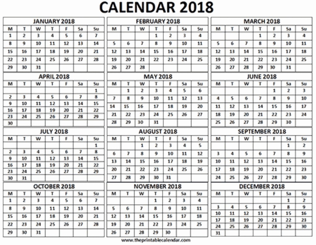 Printable 6 Month Calendar 2018 Fresh 2018 Calendar 12 Months On One Page