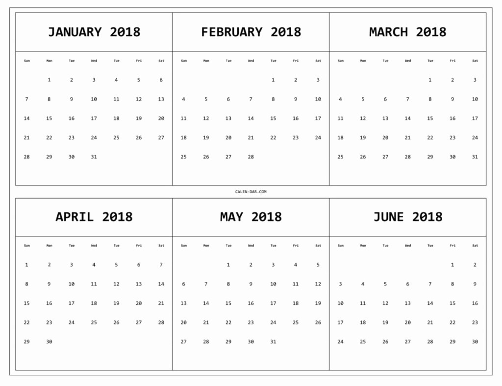 Printable 6 Month Calendar 2018 Fresh 6 Month E Page Calendar 2018