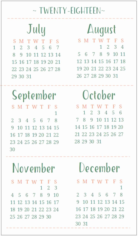 Printable 6 Month Calendar 2018 Inspirational 6 Month E Page Calendar 2018