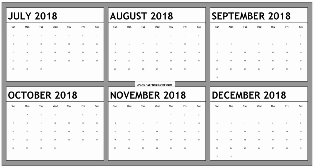 Printable 6 Month Calendar 2018 Inspirational August to December 2018 Calendar