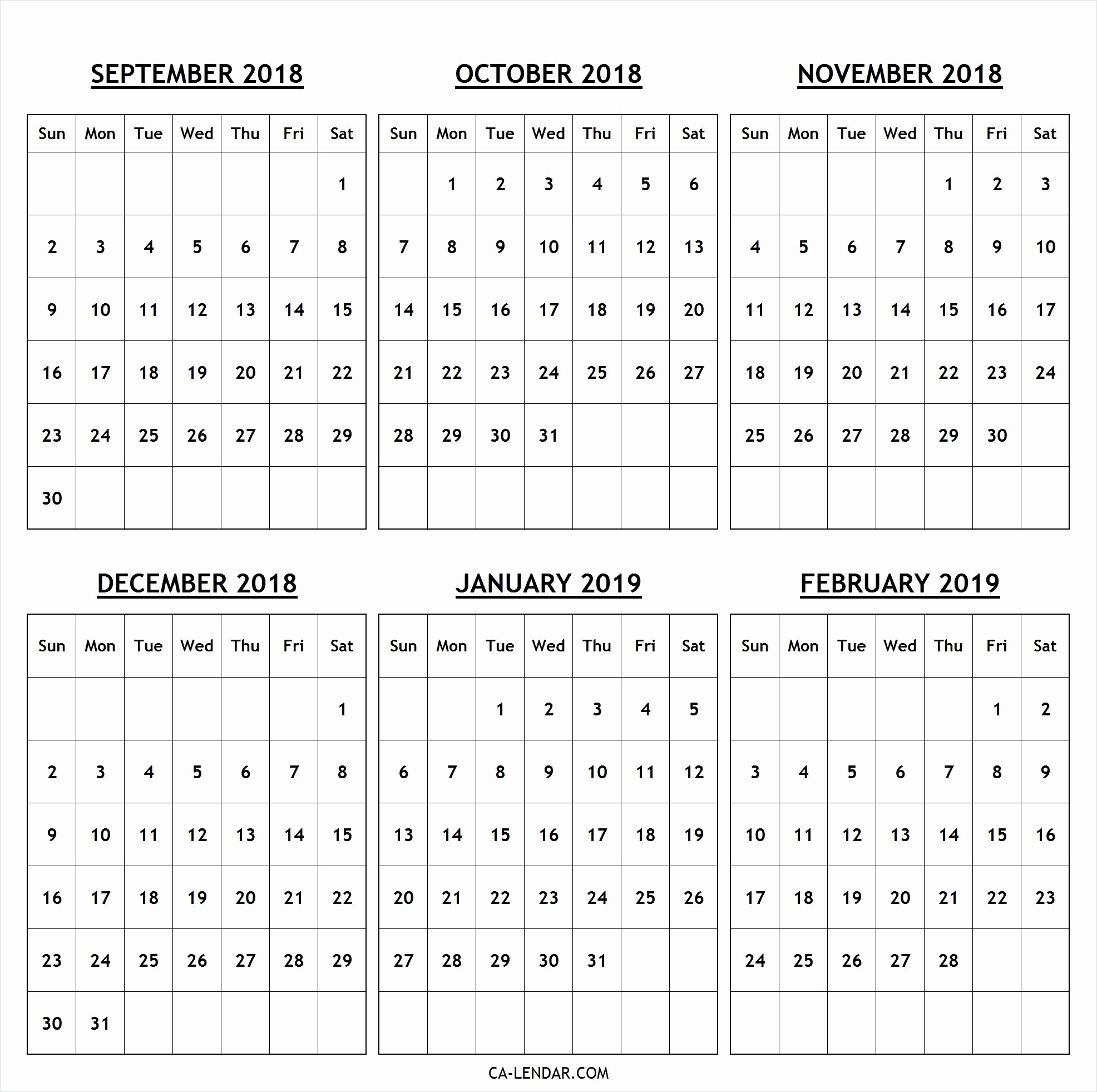 Printable 6 Month Calendar 2018 Inspirational Data Just for 6 Month Calendar 2019 Printable Calendar