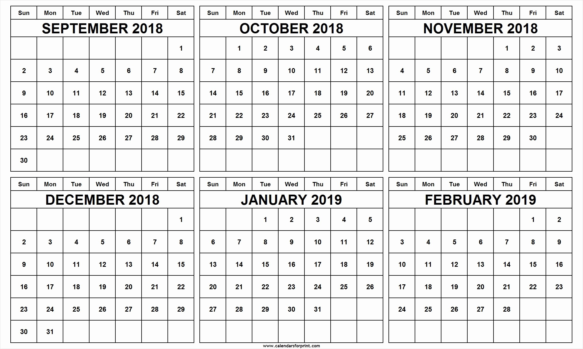 Printable 6 Month Calendar 2018 Lovely September 2018 to February 2019 Calendar Templates Free