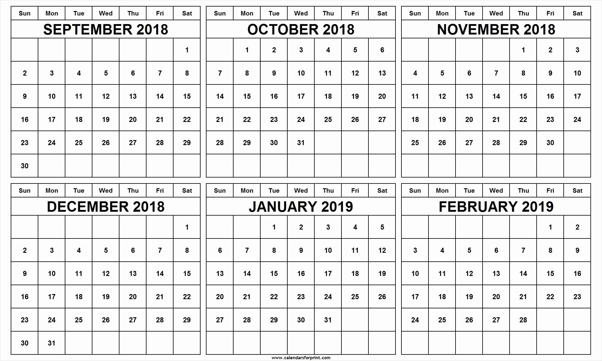 Printable 6 Month Calendar 2018 Lovely September 2018 To February