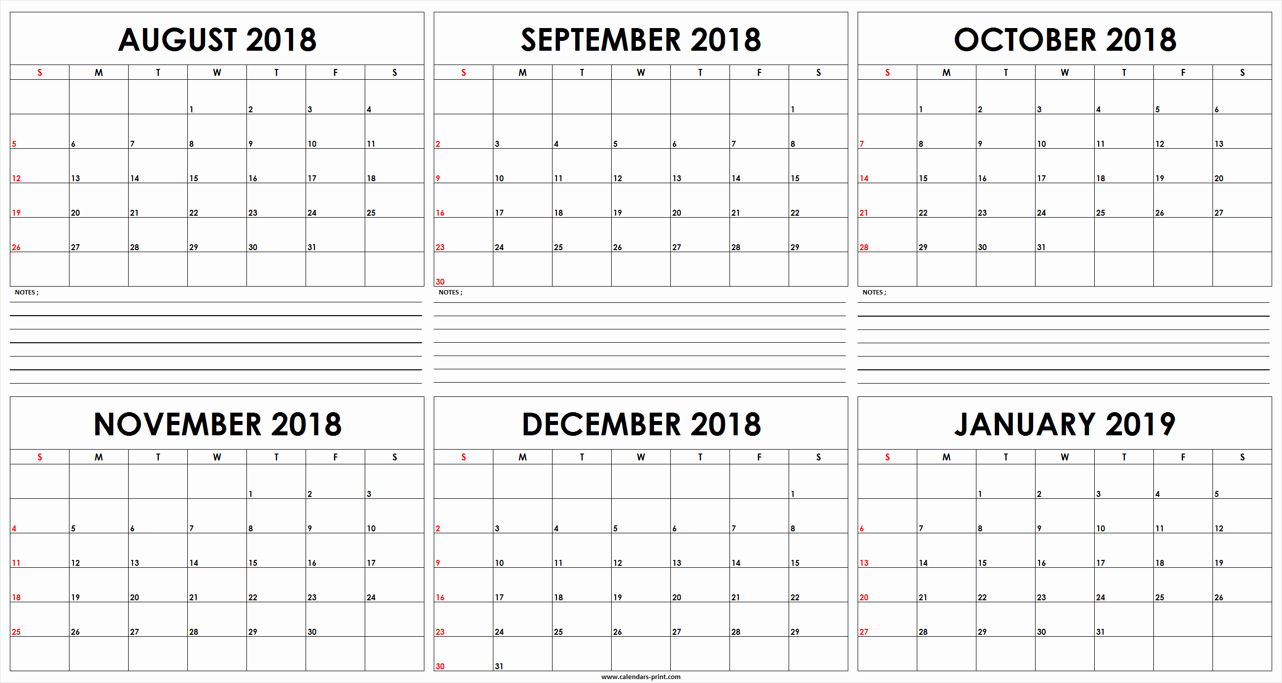 Printable 6 Month Calendar 2018 Lovely Six Monthly August 2018 to January 2019 Calendar Template