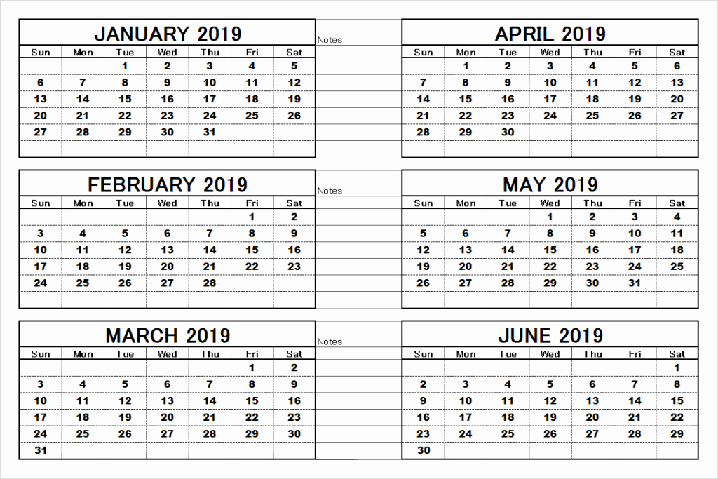 Printable 6 Month Calendar 2018 Luxury 2019 6 Months Half Year Calendar Printable Download