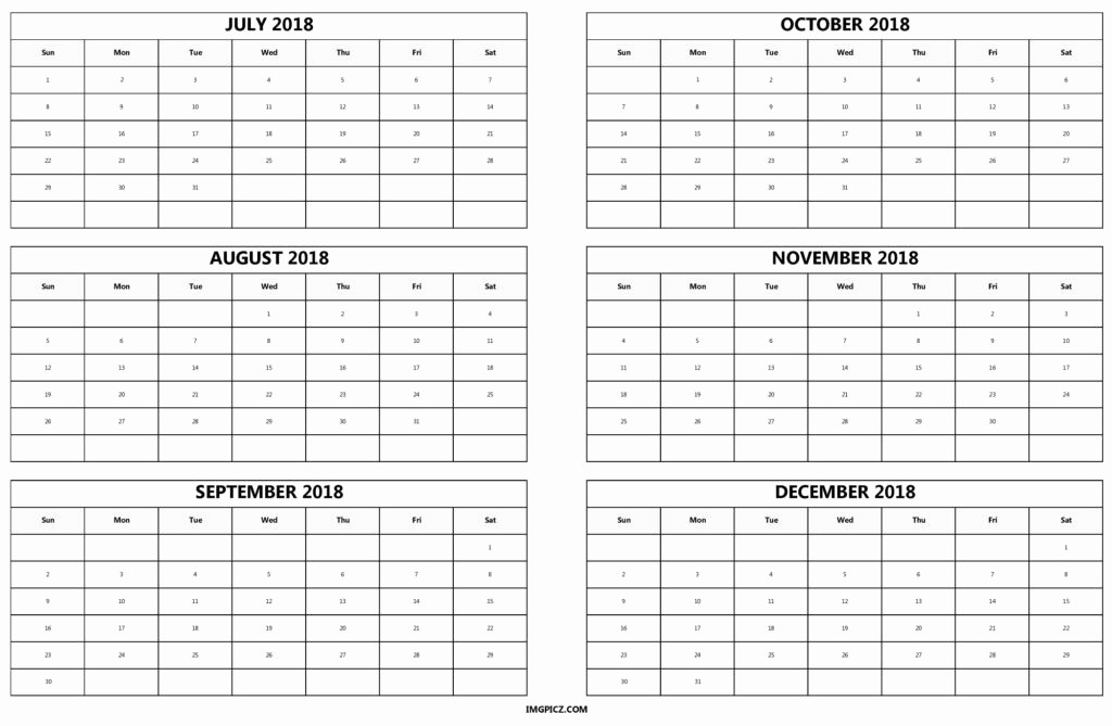 Printable 6 Month Calendar 2018 Luxury 6 Month 2018 Calendar Printable [half Year E Page