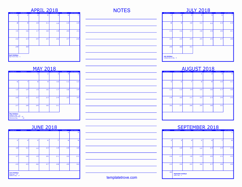 6 Month Calendar 2018