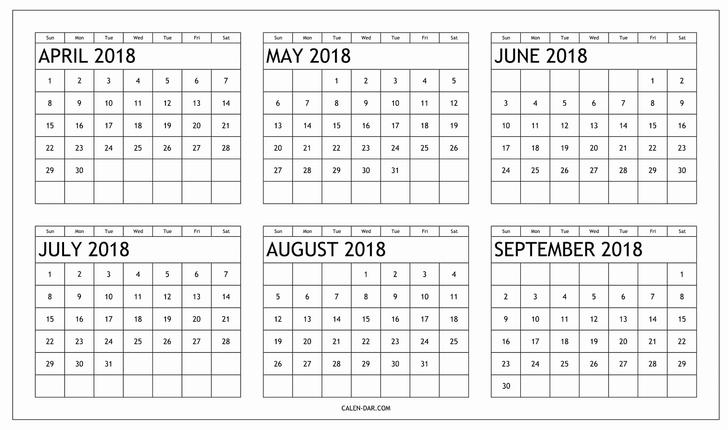 Printable 6 Month Calendar 2018 New 6 Month Calendar for 2018