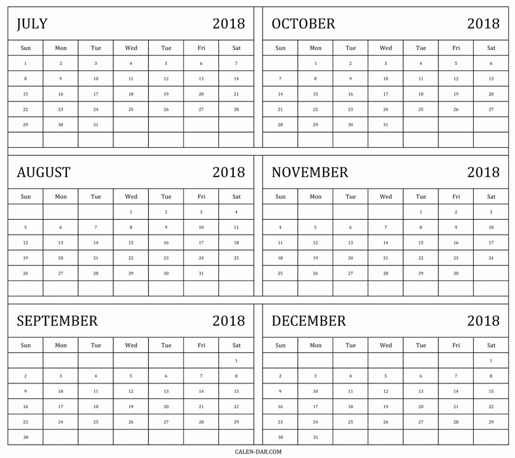 Printable 6 Month Calendar 2018 New Year Calendar July December 2018 – Template Calendar Design