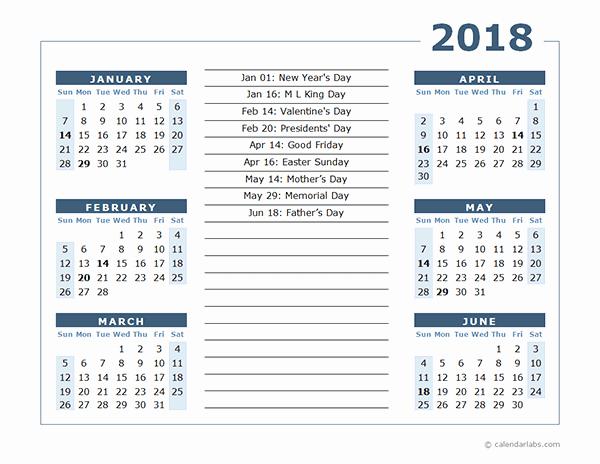 Printable 6 Month Calendar 2018 Unique 6 Month 2018 Calendar Printable [half Year E Page
