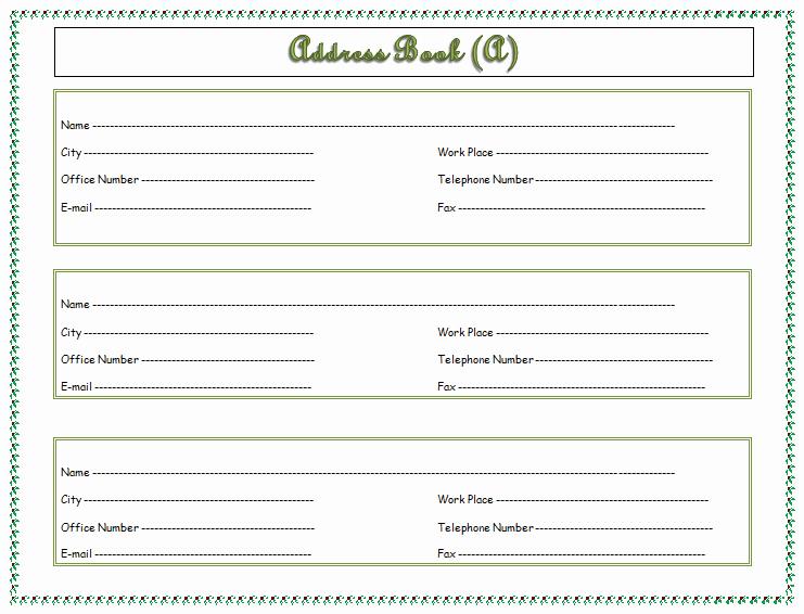 Printable Address Book Template Word Fresh Address Book Template Record Your Important Addresses