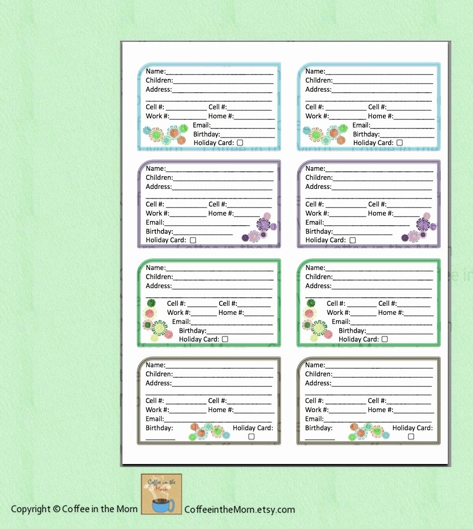 Printable Address Book Template Word New Address Book Contact List Pdf Printable Digital Download