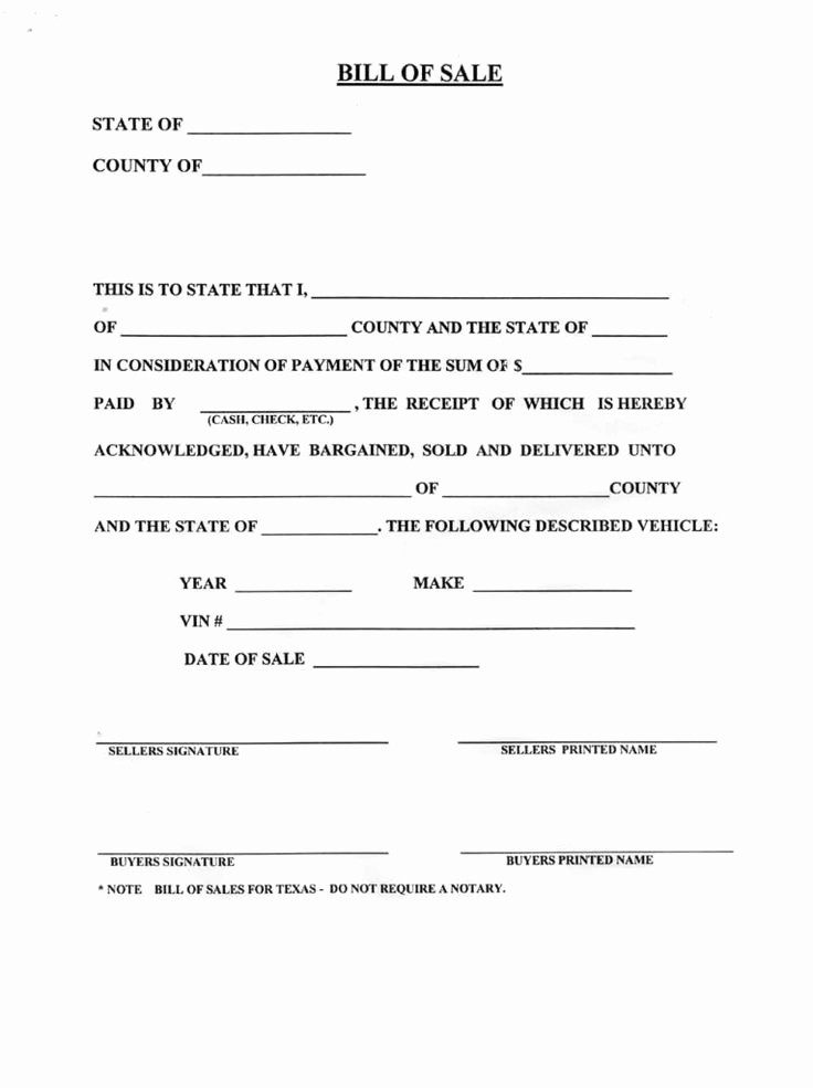 Printable Automotive Bill Of Sale Awesome Blank Bill Sale for A Car form Download How