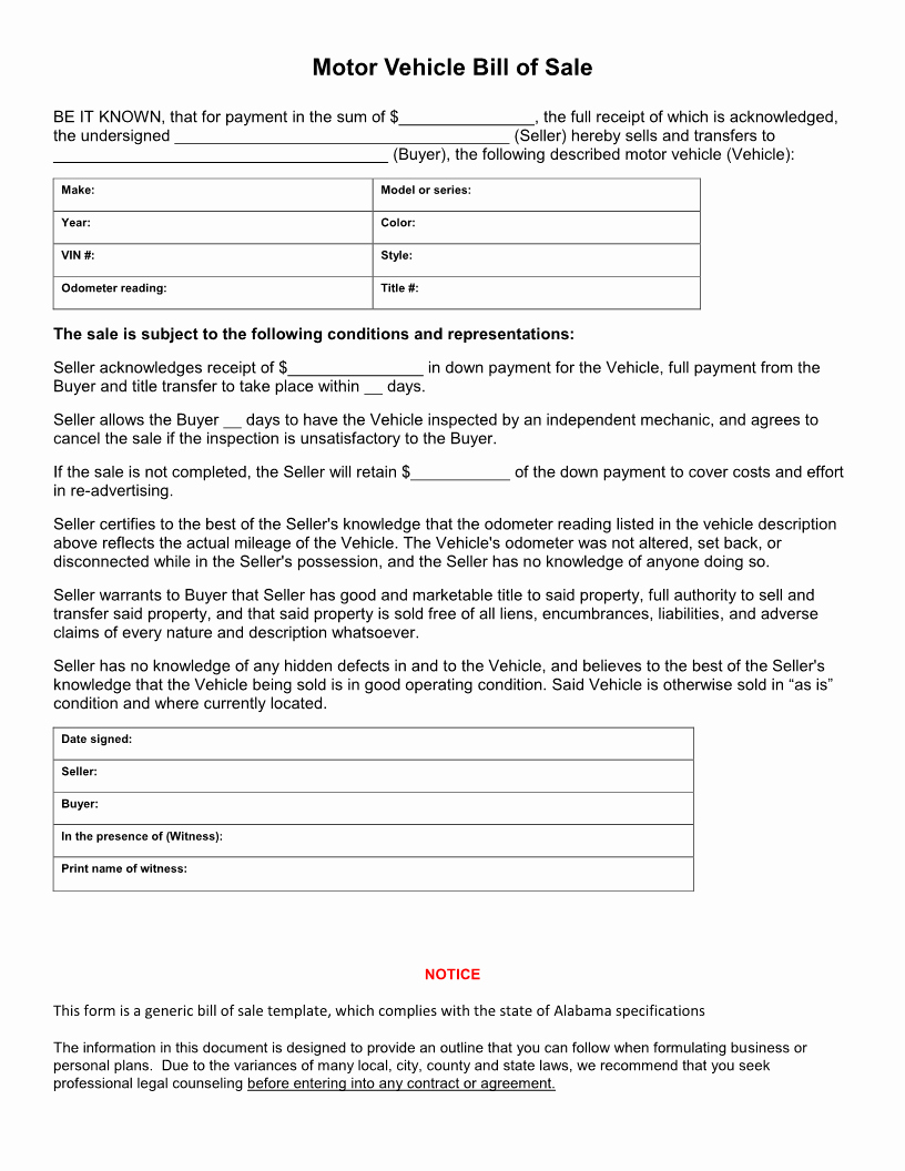 Printable Automotive Bill Of Sale Awesome Free Alabama Vehicle Bill Of Sale form Download Pdf