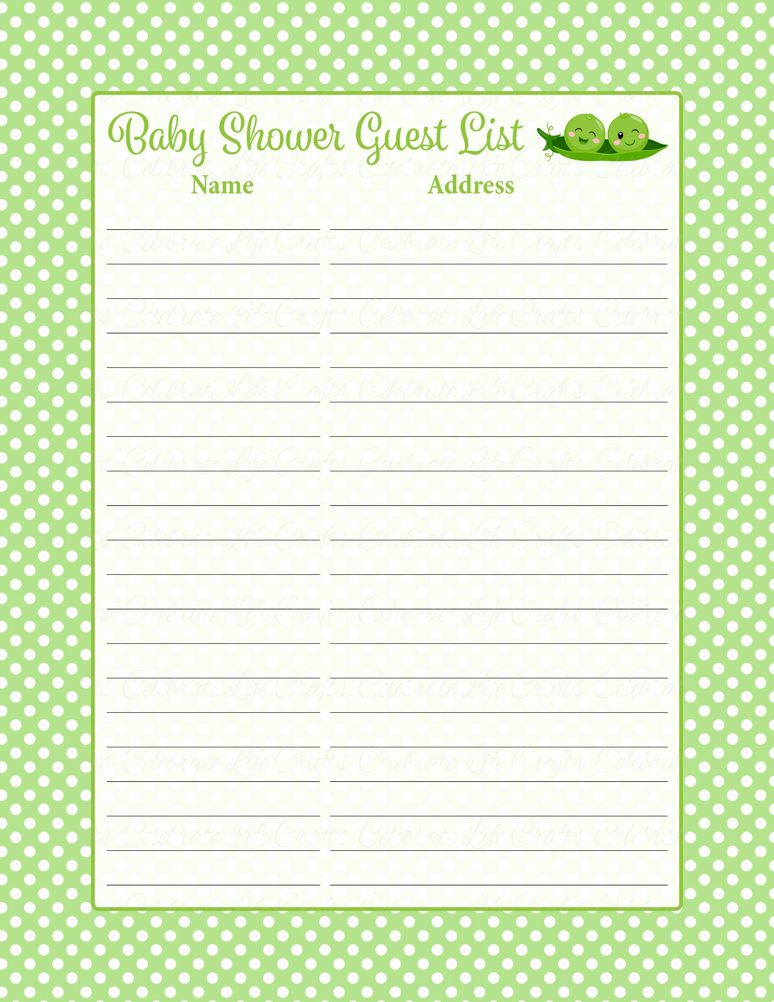 Printable Baby Shower Guest List Awesome Baby Shower Guest List Set Peas In A Pod Baby Shower