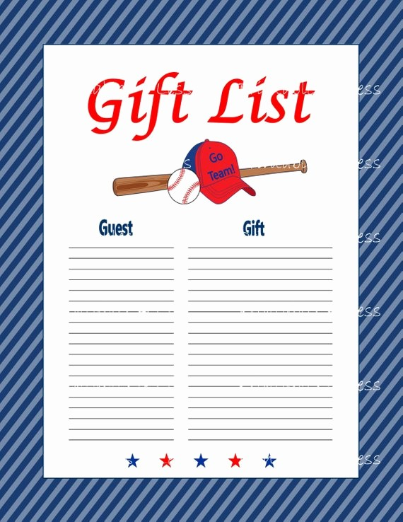 Printable Baby Shower Guest List Awesome Baseball Gift List Baby Shower Printable Guest Gift List Diy