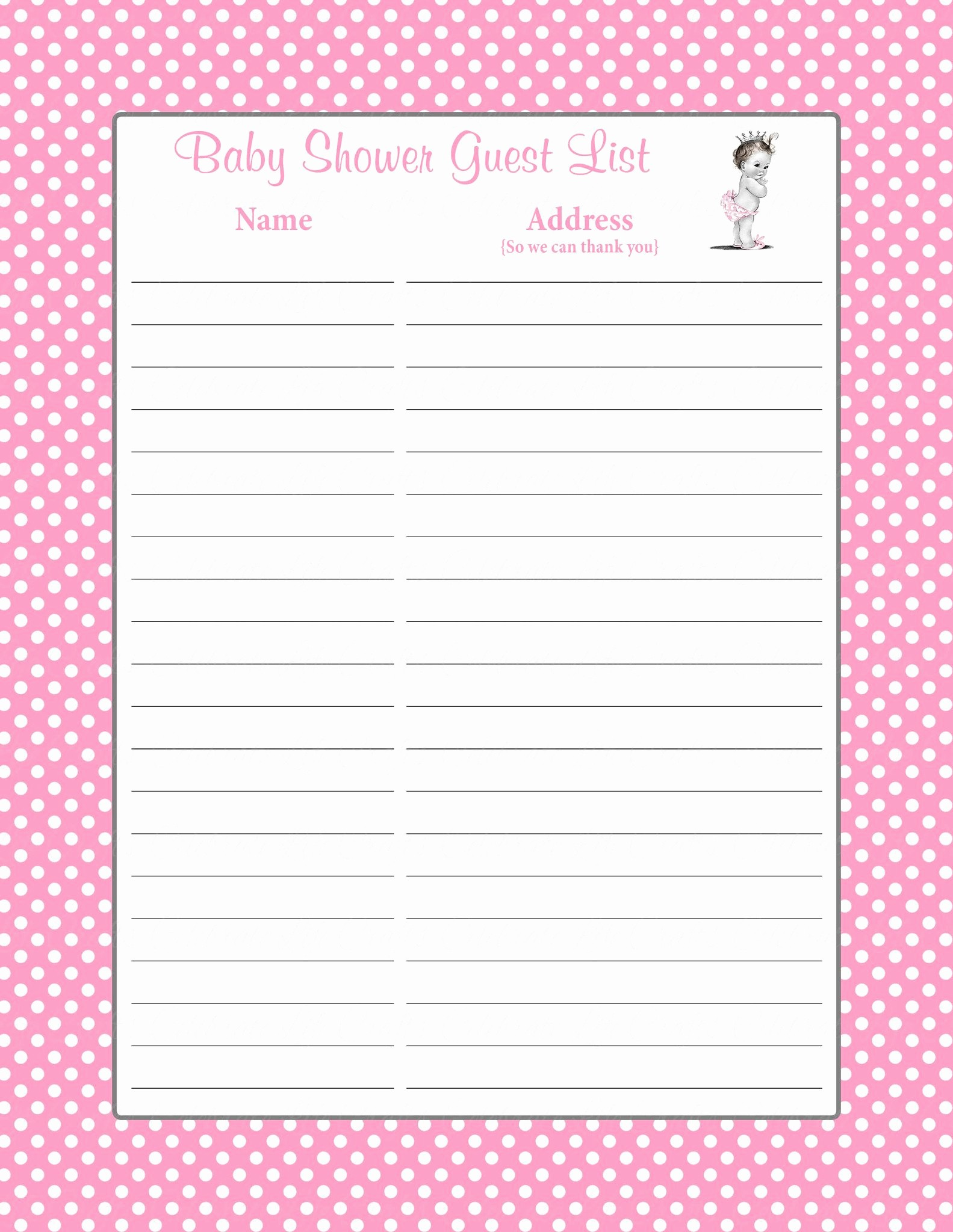 Printable Baby Shower Guest List Awesome Printable Baby Shower Guest List Portablegasgrillweber