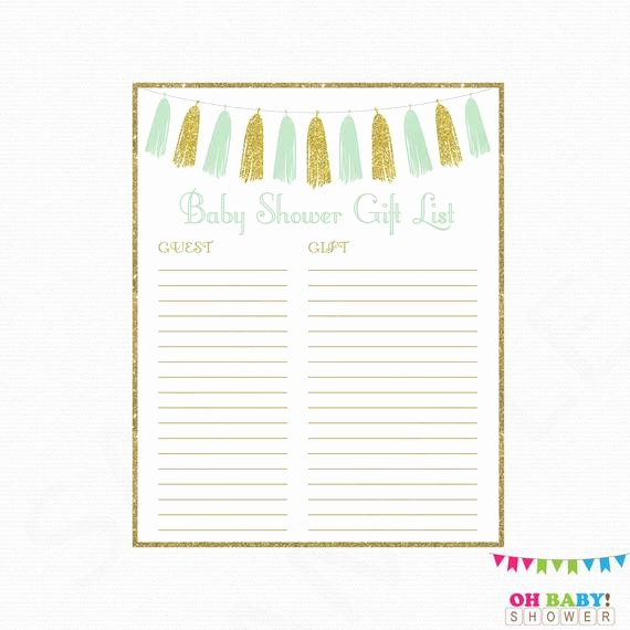 Printable Baby Shower Guest List Awesome Printable Gift List Gender Neutral Baby Shower Guest Sign In