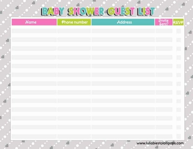Printable Baby Shower Guest List Beautiful Free Printable Baby Shower Checklist