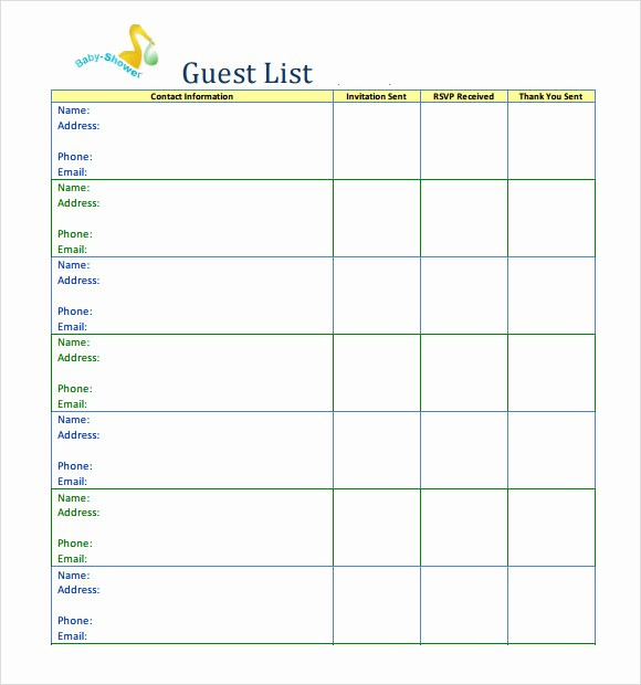 Printable Baby Shower Guest List Best Of 9 Baby Shower Checklist Samples