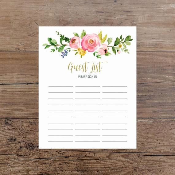 Printable Baby Shower Guest List Best Of Floral Guest List Printable Guest List Sign In Sheet Pink