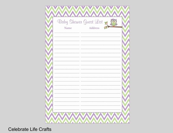 Printable Baby Shower Guest List Best Of Owl Baby Shower Guest List Printable Baby Shower Sign In