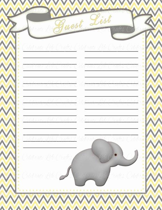 Printable Baby Shower Guest List Elegant Baby Shower Guest List Printable Baby Shower Party