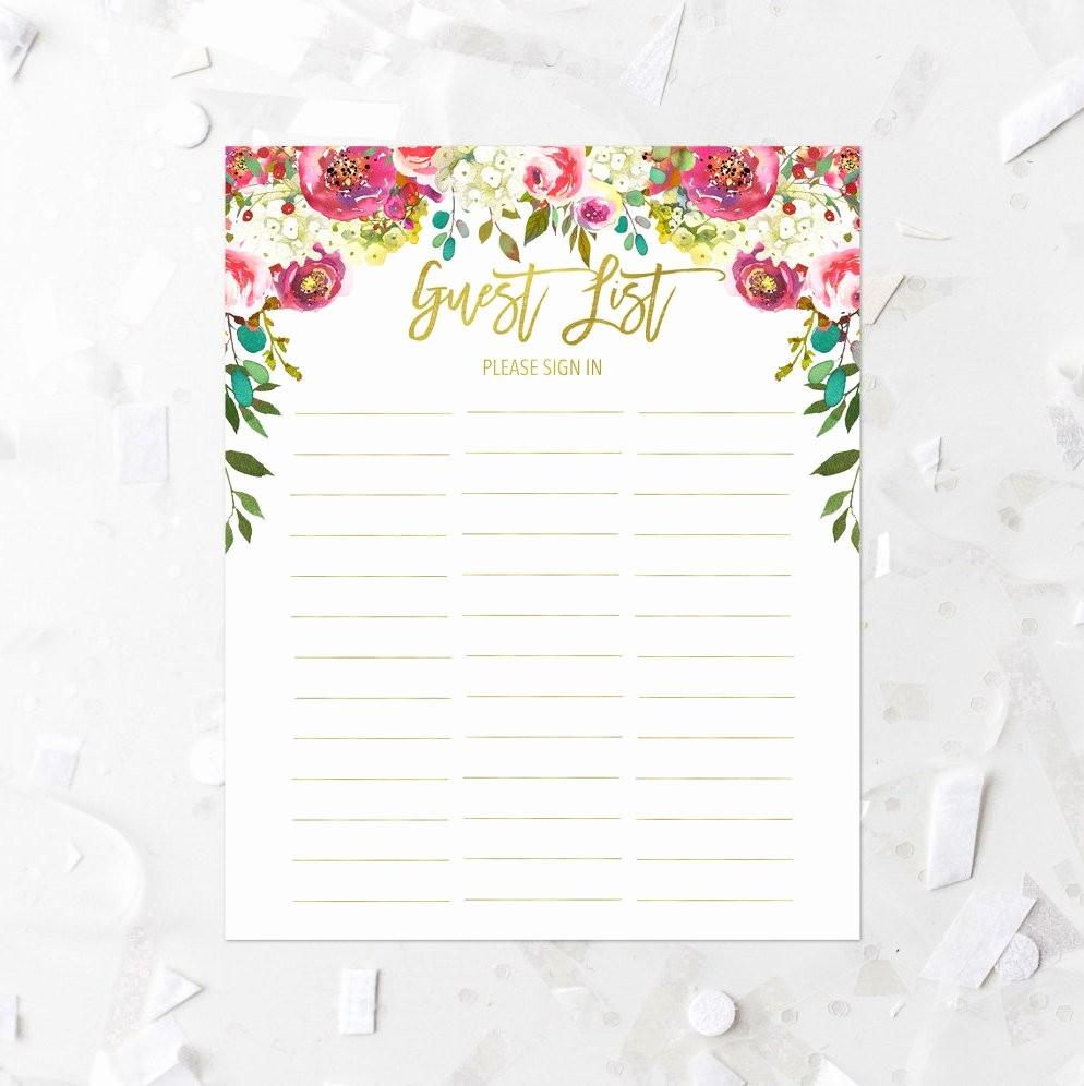 Printable Baby Shower Guest List Elegant Spring Floral Guest List Printable Pink Floral Baby Shower