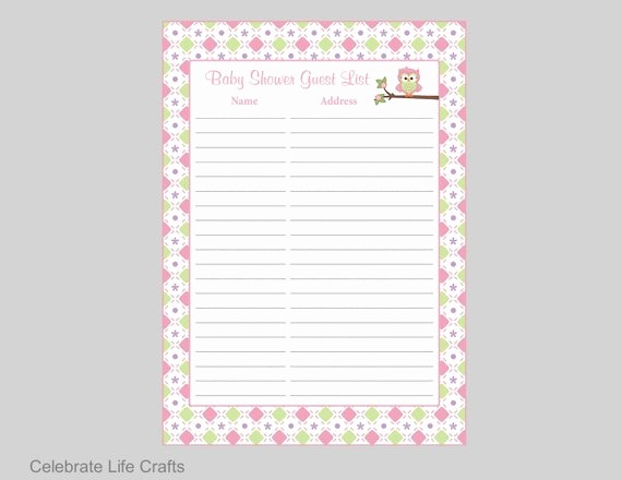 Printable Baby Shower Guest List Lovely Owl Baby Shower Guest List Printable Sign In Sheet Address