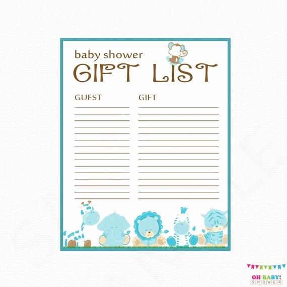 Printable Baby Shower Guest List Lovely Safari Baby Shower Gift List Printable Gift List Baby Shower