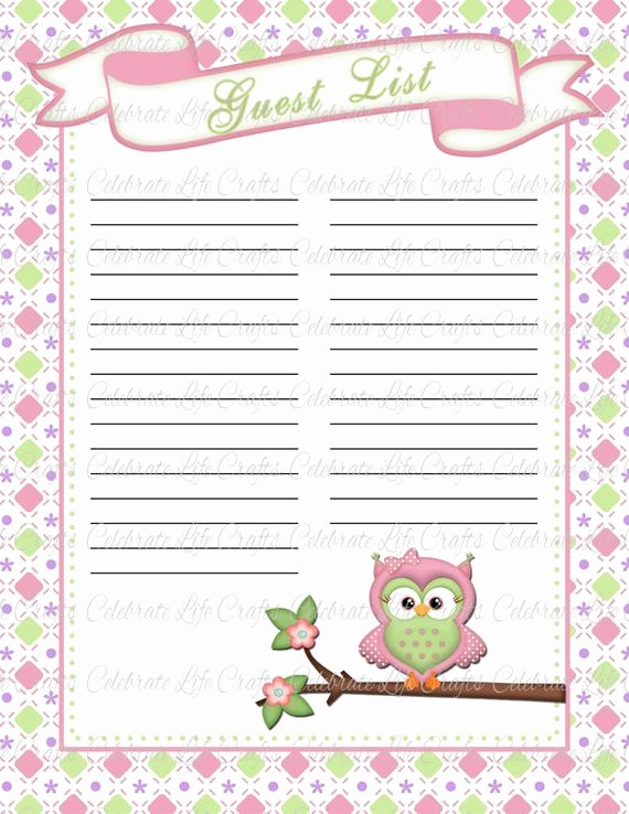 Printable Baby Shower Guest List Luxury Baby Shower Guest List Printable Baby by Celebratelifecrafts