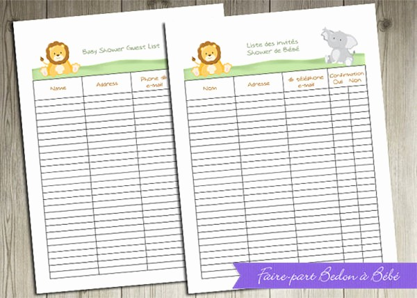 Printable Baby Shower Guest List Luxury Baby Shower Guest List Template 8 Free Word Excel Pdf