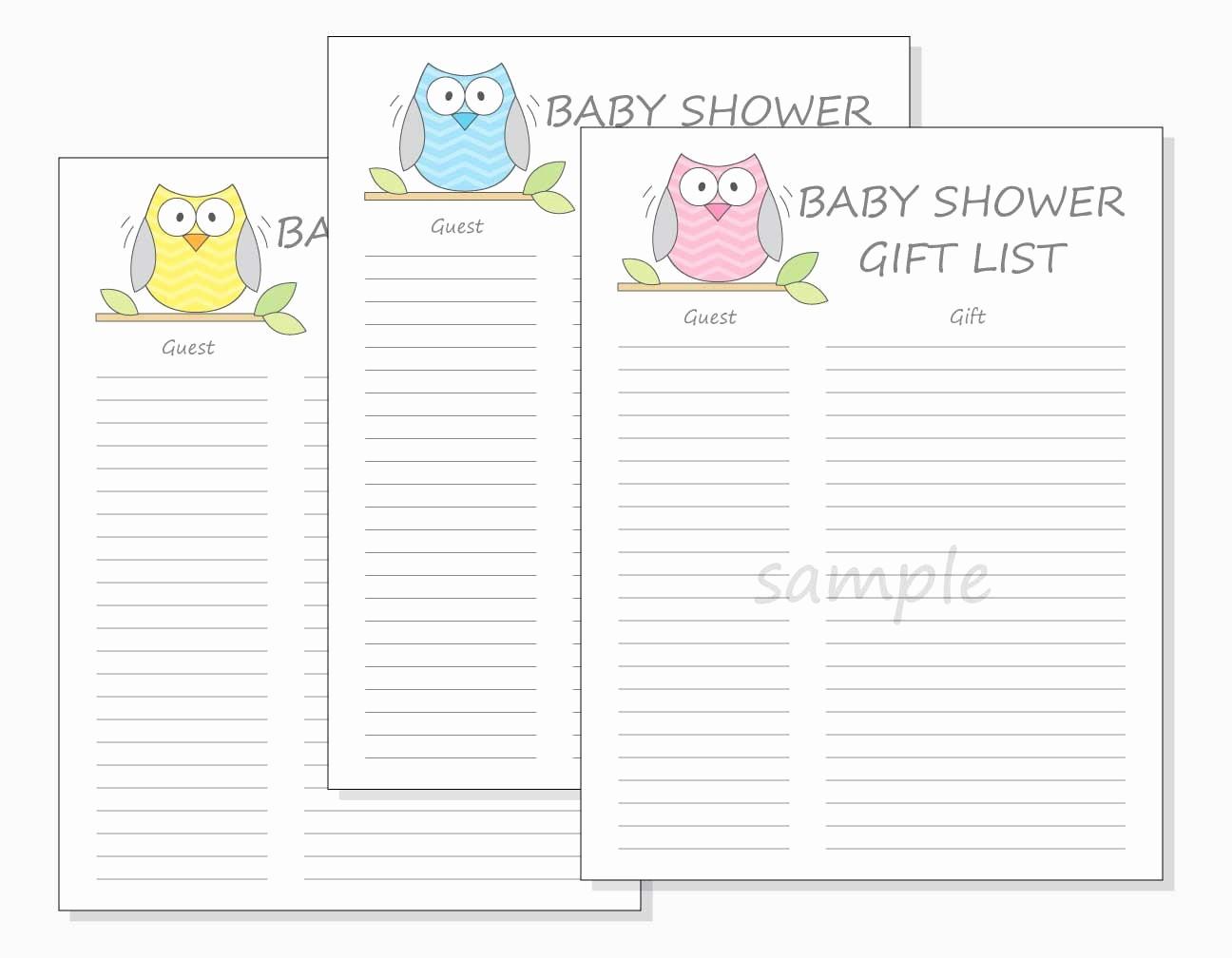 Printable Baby Shower Guest List Luxury Diy Baby Shower Guest Gift List Printable Chevron Owl Design