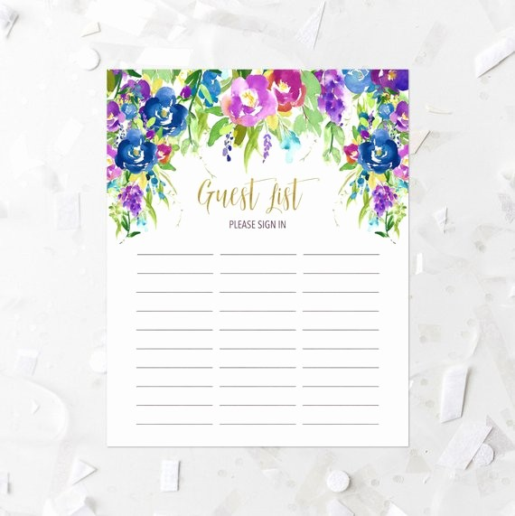 Printable Baby Shower Guest List Luxury Items Similar to Floral Guest List Printable Guest List