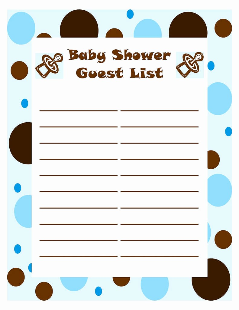 Printable Baby Shower Guest List Luxury Template Of Baby Shower Guessing Game and Guest List