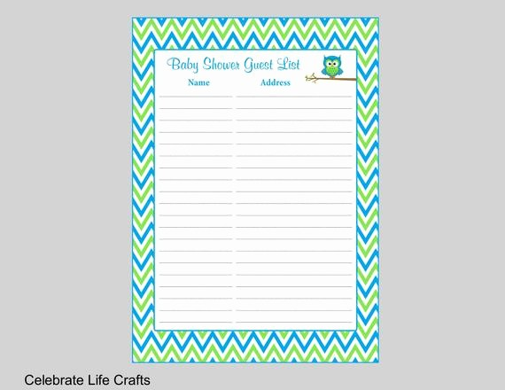 Printable Baby Shower Guest List Unique Baby Shower Guest List Printable Sign In Sheet with Address