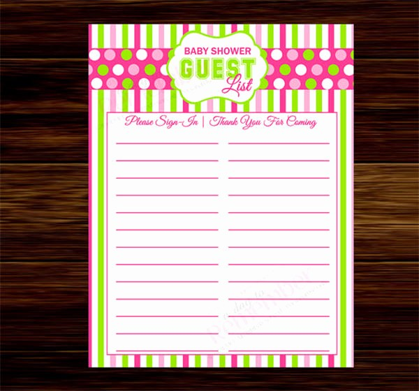 Printable Baby Shower Guest List Unique Baby Shower Guest List Template – 8 Free Sample Example